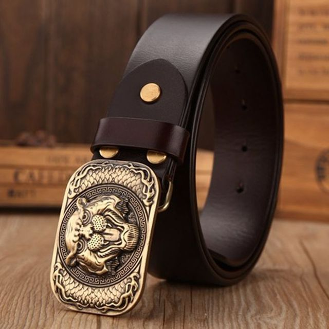 2019 casual full grain leather belts mens high quality belt size 130 cm jeans luxury solid brass tiger buckle for men 44