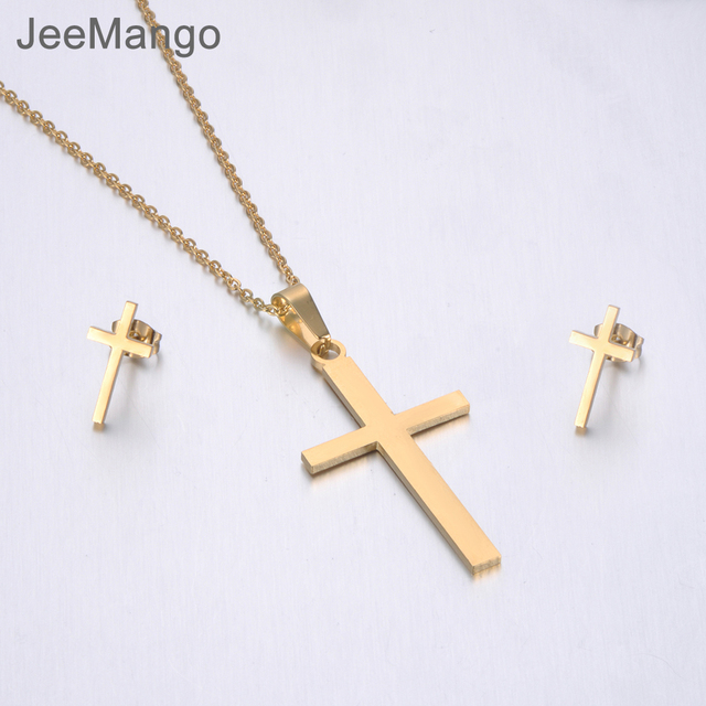 JeeMango Trendy Stainless Steel Sets For Women Gold Color Cross Shape Necklace Earrings For Women Lover's Anniversary Jewelry
