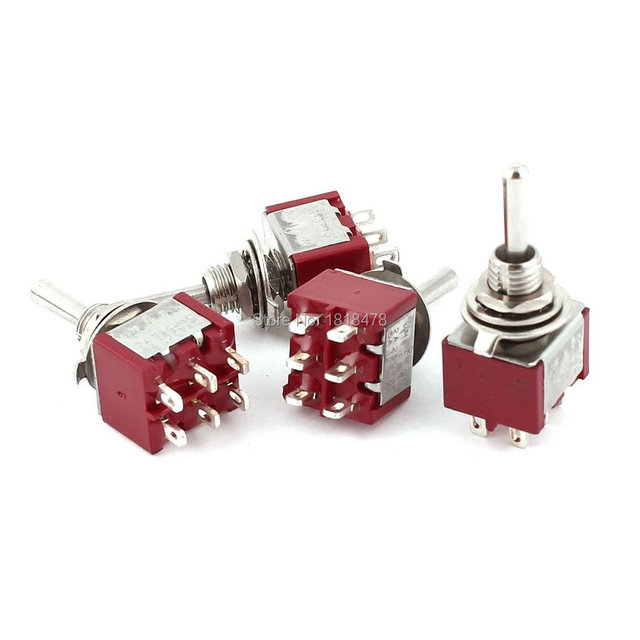4 Pcs AC 250V 2A 120V 5A Momentary ON/OFF/ON 3 Position 6 Pins DPDT Toggle Switch