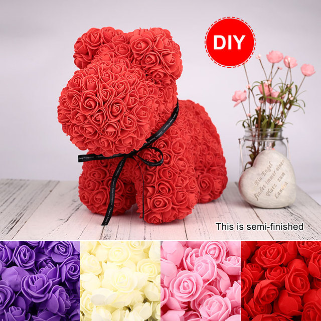 PE Rose Bear Mold Novel Rose Dog Mold Valentine'S Day for Artificial Flower Mother'S Day Wedding DIY Home Decoration for Party