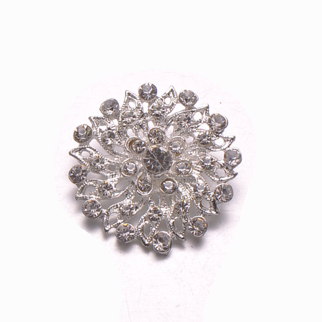 (S0580)10pcs/lot , 33mm rhinestone brooch,with pin at back,silver or light gold plating
