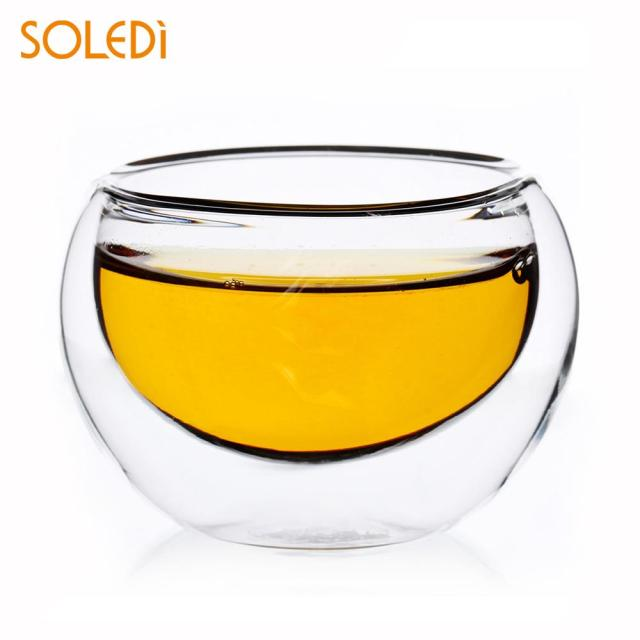 Glass Cup Kungfu Tea Cups Handmade Double Wall Layer 50ml Beer Bar Tool Heat Resistant Coffee Pots Party Wedding Decor Drop ship