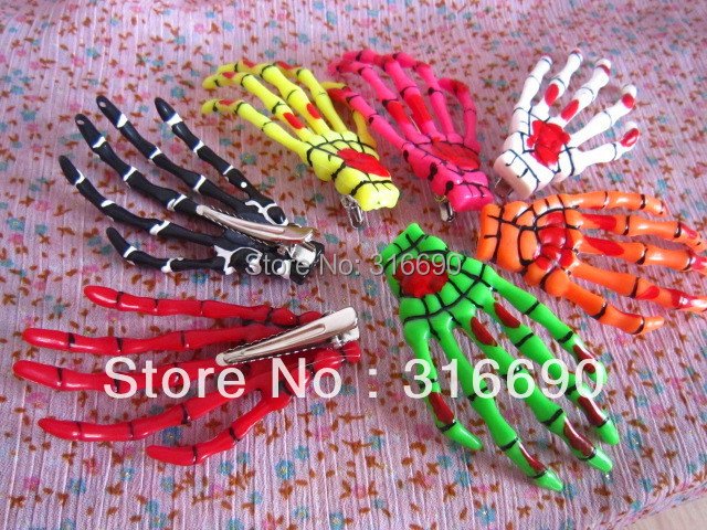 new style Colorful plastic skull hand hair clip 10pcs/lot Free shipping