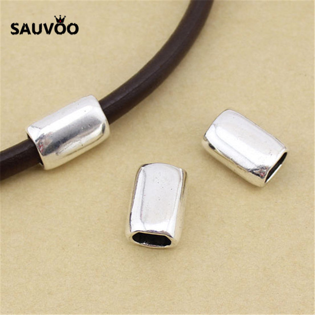 SAUVOO 10pcs/lot Smooth Big Hole Tube Beads Hole Size 7*10mm Antique Silver Color for DIY Bracelet Necklace Charm Spacer Bead