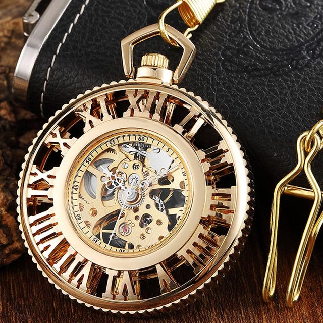 Vintage Big Roman Numerals Hollow Mechanical Pocket Watch Necklace Luxury Gold Silver Fob Hand Watch For Women Men Witch Chain