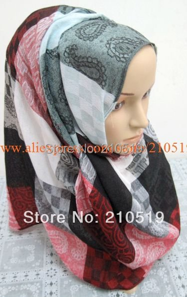 clearance sale  free shipping muslim higabs softy 180*70cm big check muslim scarf