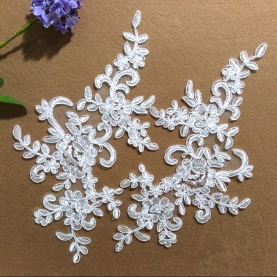 Wedding dress lace applique motif diy bride hair accessory accessories Bridal trims Sequined wedding appliqued flower in pairs
