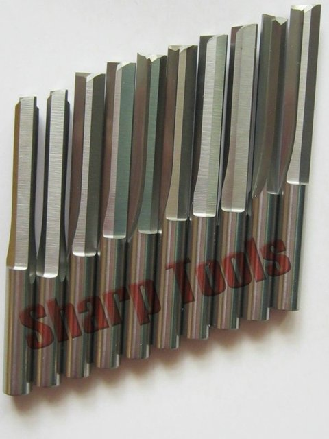 10 pcs 6*32MM Two Straight Flute CNC Router Tools, Carbide Bits, Engraving Tool Cutters, End Mill for PVC, Foam Carving Machine