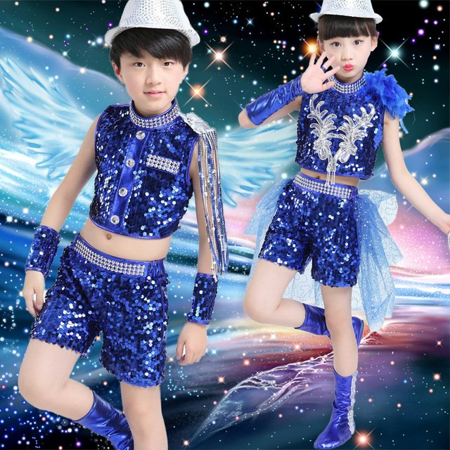 New Arrival Child Jazz Dance Costumes Blue Black Sequin Sexy Boy Girls Performing Dance Costumes Clothing Hio Hop Modern Costume