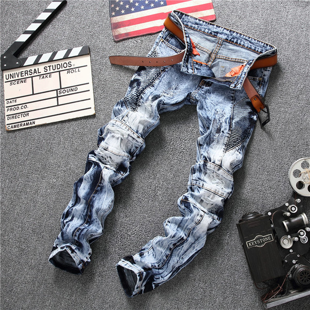 2018 New Arrival Fashion Designer Jeans Men Straight Ripped Blue Color Printed Mens Jeans Ripped Holes Jeans Trousers Size 29-38
