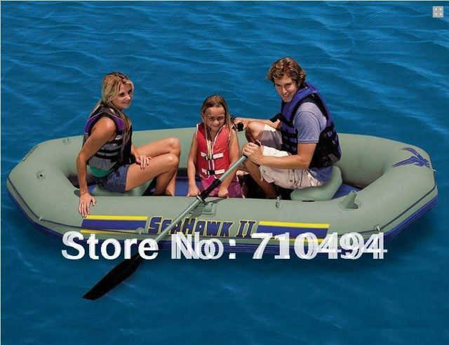 free DHL shipping intex seahawk II 68377 inflatable boat set - Three Man Lake, River Fishing Raft with pump & paddle etc