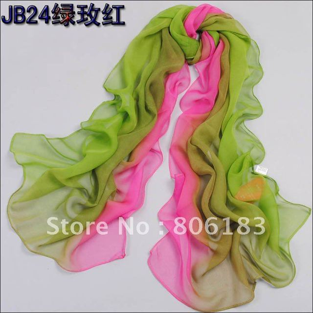 m1463 wholesale gradual change silk and polyster long scarf shawl muslim hijab free shipping fast delivery