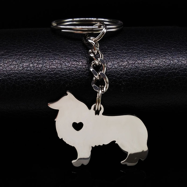 2020 Cute Border Collie Dog Silver Color Stainless Steel Keychain for Men Love Dog KeyChain Pokemon Jewelry chaveiro K963S01