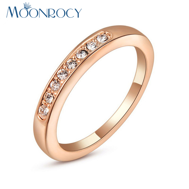 MOONROCY Drop Shipping Fashion Jewelry Italina Cubic Zirconia Rose Gold Color Crystal Big Size Wedding Ring for Women or Men