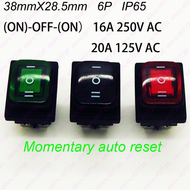1PC KCD4-6PIN Waterproof Momentary Rocker Switch 38mm X 28.5mm 6PIN Perforate (ON)-OFF-(ON) Boat Power Switch With 220V light