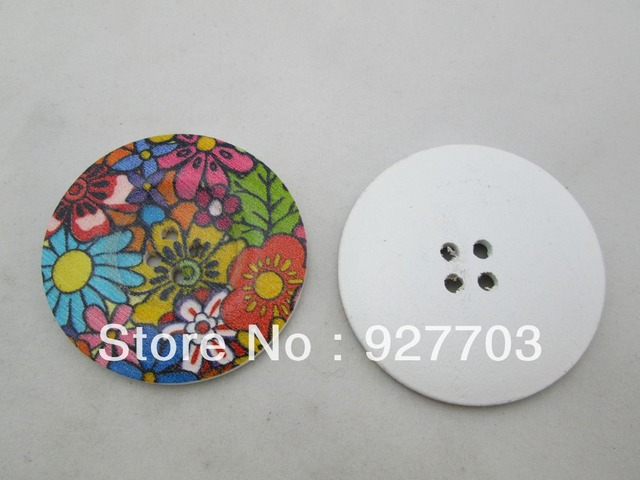 (CM618 20 X 50mm)20pcs 2 inches Big Sunflower Floral Wood Buttons Sewing Craft Embellishments