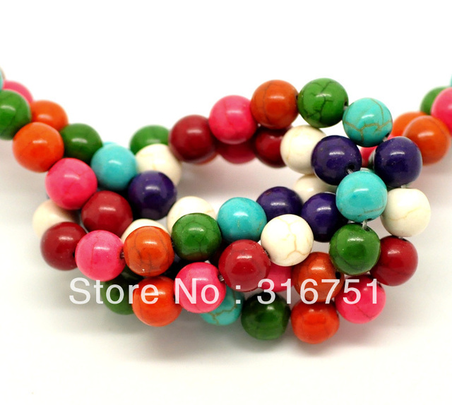"""wholesale 2 Strands(2x55PCs) Mixed Howlite Turquoises Round Loose Beads For Jewelry Making 8mm(3/8""""), 40cm long(W02110)"""