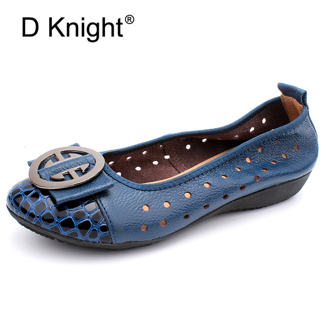 Genuine Leather Loafers 2018 Black Blue Ballet Flats Shoes Woman Summer Slip On Cut-outs Sandals Casual Women Ballerina Shoes