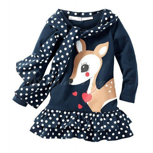 Cute Deer Christmas Costumes for Kids Clothes Sets Girl's Dress + Scarf Baby Suits for Autumn Toddler Clothing Children's Wear