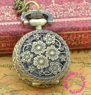 Coupon for wholesale buyer price good quality retro nice vintage woman new bronze mini flower pocket watch necklace with chain