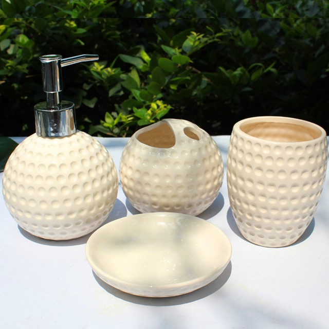Free Shipping Bathroom Accessories Set 4 piece Golf Ball Pattern Business Gifts Personal Care Kits Ceramic