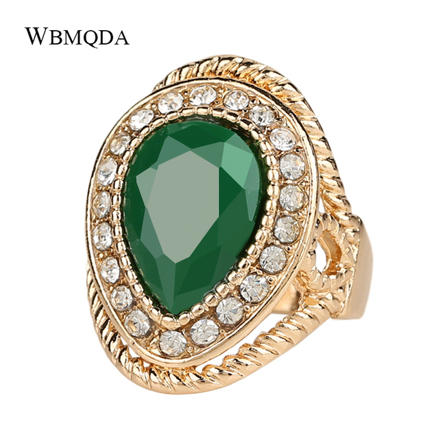 2018 Fashion Wedding Rings For Women Gold Color Green Stone Crystal Ring Indian Jewelry Free Shipping