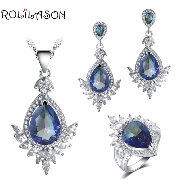 ROLILASON Rainbow color For girl Anniversary gift Cubic Zirconia  Stamped Earrings Necklace Rings Jewelry Sets JS765