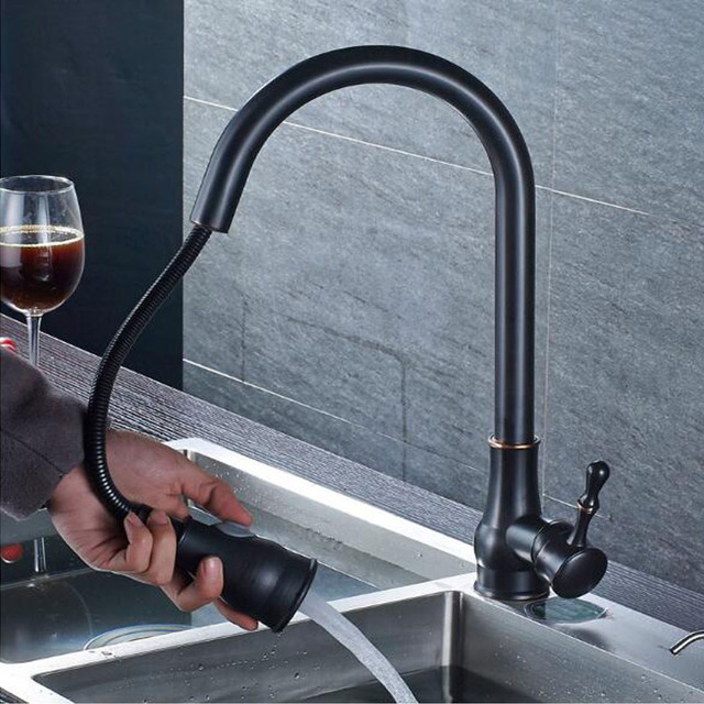 Pull Down with Sprayer Kitchen Faucet in Oil Rubbed Bronze Bathroom Mixer SInk Faucet Hot Cold Water Tapware