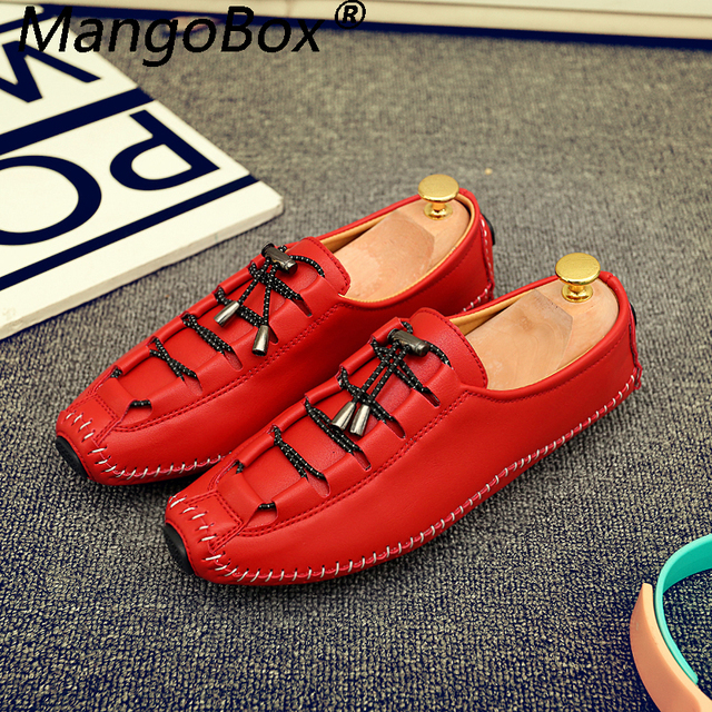 Men Casual Shoes Luxury Brand Leather Men's Driving Shoes Handmade Top Quality Men Loafer Shoes Flats New Designer Red Moccasins