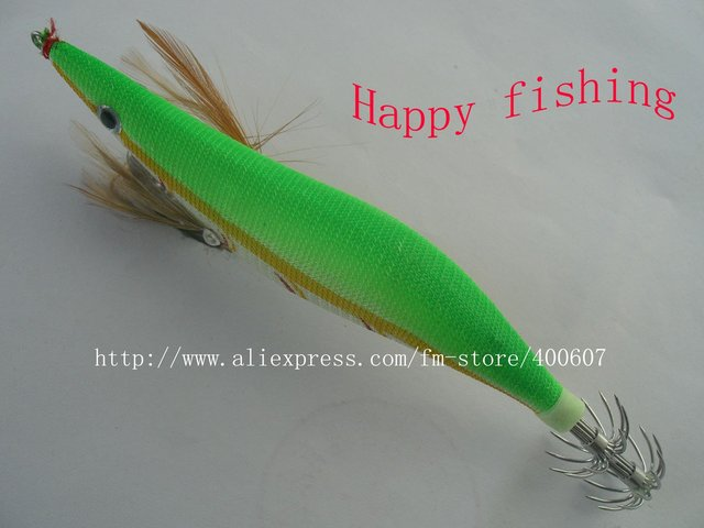 Luminous Squid Jig wood shrimp the most popular model bright green color Enjoy Retail Convinenc at Wholesale Price