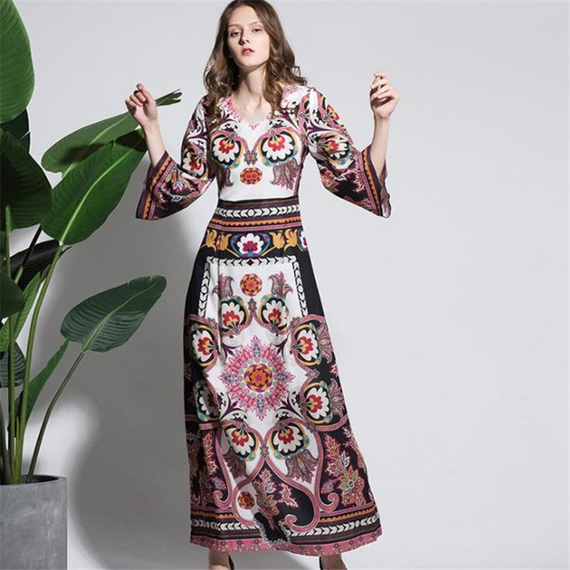 UNIQUEWHO Ladies Women Vintage Flower Print Dress Slim Elegant Maxi Dress V Neck Spring Summer Beach Dress Holiday Long Dresses