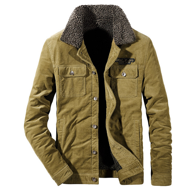 2018 New Design Fashion Men Corduroy fleece Jacket coat turn down collar outwear long sleeves outfit overcoat plus size XXXXL