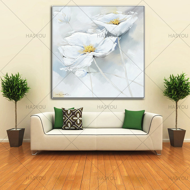 High Quality Beautiful White Flower Wall Picture 100%Handmade Oil Painting On Canvas Wall Art For Living Room Hanging