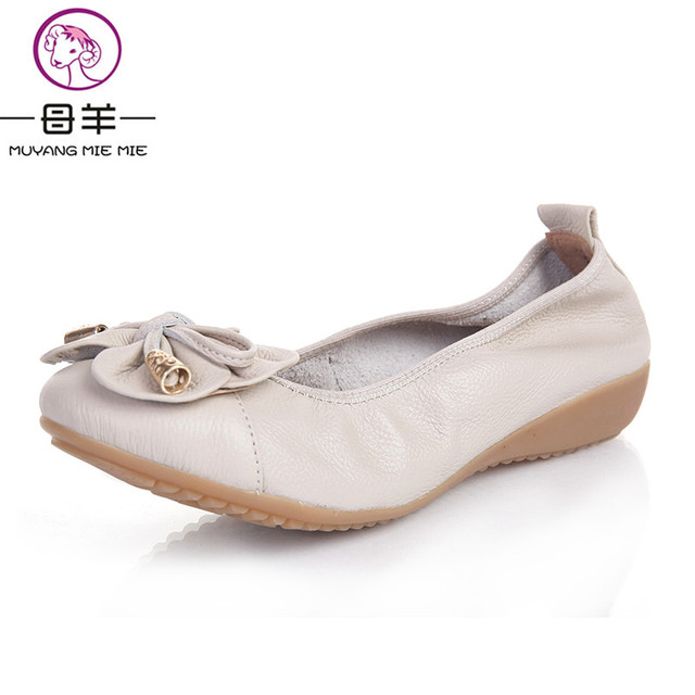 MUYANG Chinese Brands Size(35-42) 2017 New Fashion Loafers Women Shoes Woman Genuine Leather Soft Casual Flat Shoes  Women Flats