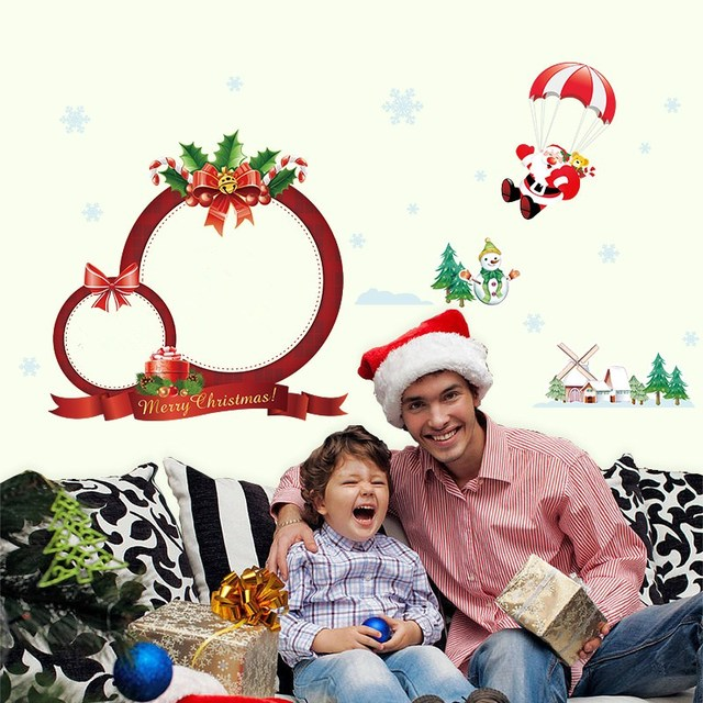 Snowman Santa Claus Wall Stickers Merry Christmas Decorations PVC Decals Festival Mural Art