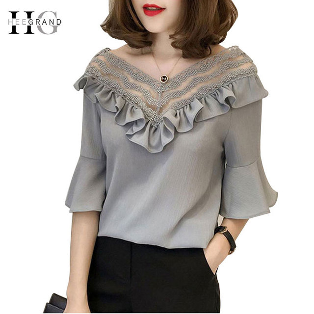 HEE GRAND 2018 Summer Women Short sleeve Lace Blouses Solid Loose Plus Size S-3XL Ruffles Blouses Office Lady Shirts  WCS271