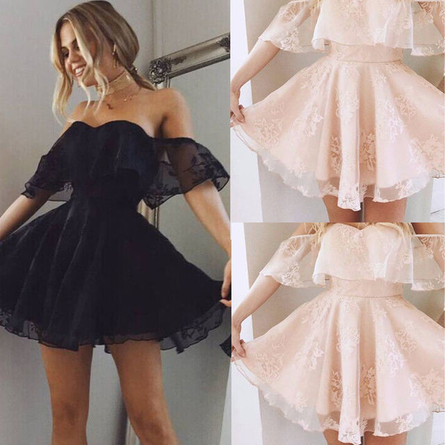 Summer Style Sexy Women Mini Dresses Pink Off the Shoulder Short Sleeve Strapless Lace Ruffle Bodycon Dress