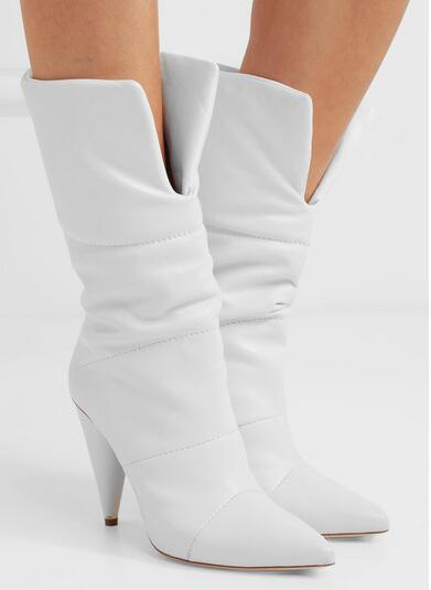 2018 Spring New White Solid Color Pointed Toe Spike Heels Slip On Mid-calf Short Boots Women's Off-white Leather Boots Lady