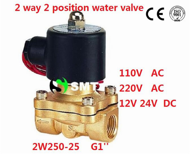 """Free Shipping 5PCS 1"""" Brass Solenoid Valve 12V Normally Closed Water, Diesel 2W250-25 FKM"""