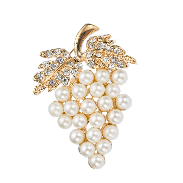 Grape Shaped Brooch with Imitation Cream Pearls and Rhinestone Crystals Gold and Silver Available