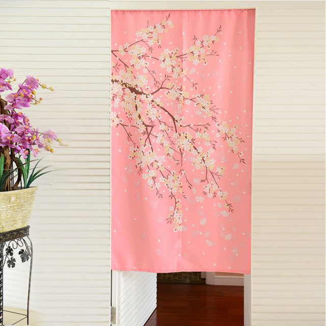 Nice Curtains morden The blossom door curtain partition fabric japanese style door curtain