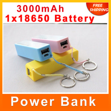 2014 New Portable Mobile Power Bank box USB replaceable 18650 Battery Charger Key Chain for iPhone MP3 backup power(No Battery)