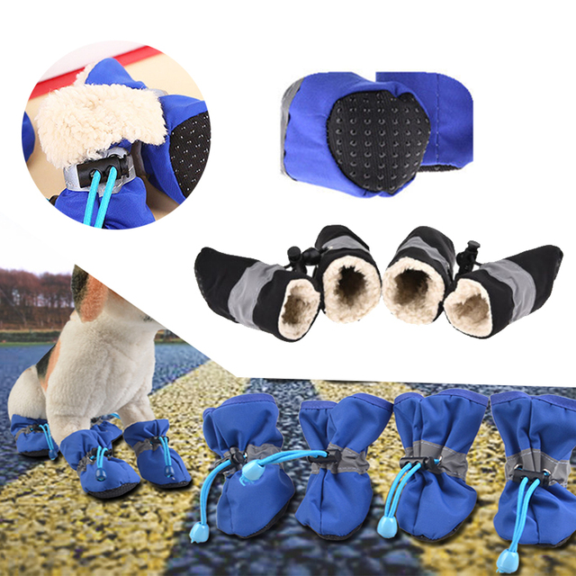 4pcs Dog Shoes Pet Supplies Puppy Booties Non-Slip Warm Winter Shoes Small Dog Protection Foot