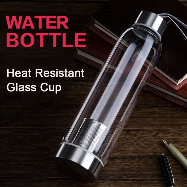 Water Cup Water Glass Protable Filter Screen 5 Colors Travel Sport Fruit Juice Home