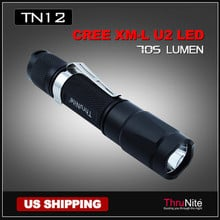 Free shipping hunting ThruNite TN12 Cree XM-L U2 LED 18650 Flashlight + Free Ti