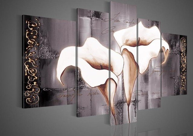 hand-painted  5 piece wall art Brown lily fashion flowers home decoration abstract  Landscape oil painting on canvas frame