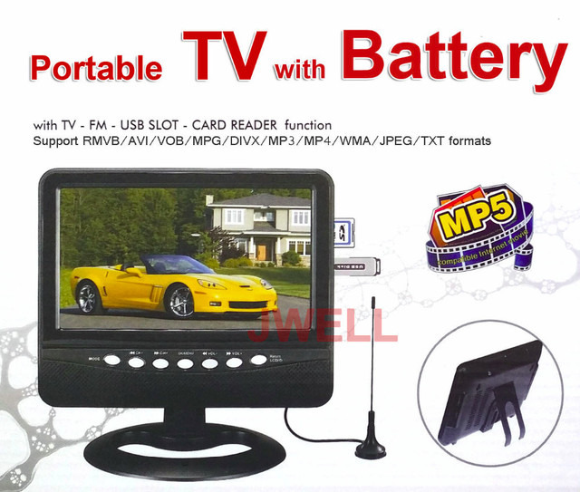 MINI TV 9.5 inch LED screen with FM, USB,SD Card reader with rechargeable battery