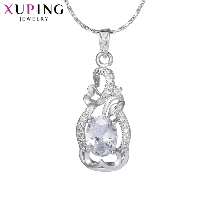 Xuping Elegant Simple Pendant Rhodium Color Plated Jewelry for Women Valentine's Day Gift M35-30105