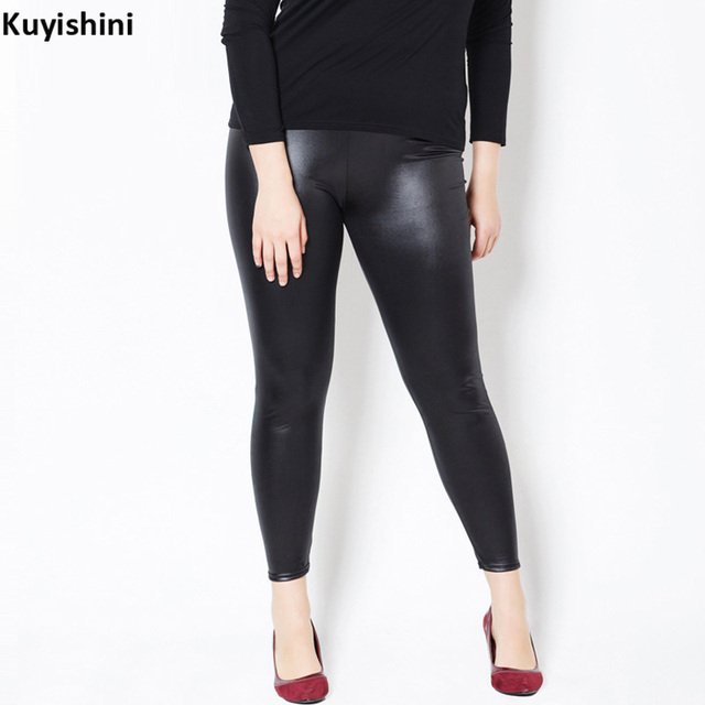 New Plus Size 3XL 5XL Women Oversized Legging High Waist Sexy Faux Leather Leggings Slim PU Skinny Pants 4110117