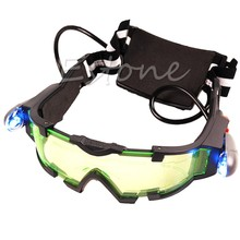 Adjustable Elastic Band Night Vision Eyeshield LED Green Lens Goggles Glasses Drop Ship